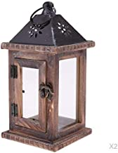 Abbraccia Set of 2 Garden Lantern Wind Light Wood Lantern Candle Holder with Handle