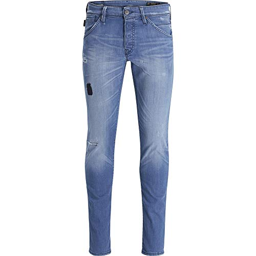 Pantalones vaqueros Glenn Fox Comfort Used Denim para hombre, corte ajustado, lavado a la piedra.
