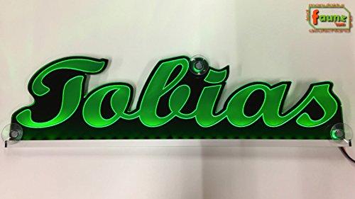 """Großes LED LKW Truck Leuchtschild Namensschild Truckerschild bspw. """"Tobias"""" grün oder Ihr Wunschname in wählbarer Farbe als hochwertige Plexiglas-Gravur Konturschnitt 12/24V ©faunz"""
