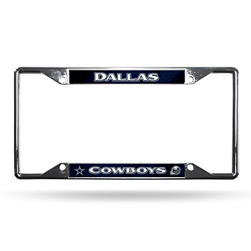 NFL Rico Industries Easy View Chrome License Plate Frame, Dallas Cowboys Chrome Dallas Cowboys Frame