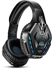Gaming Headset for PS4, Xbox One, PC, Nintendo Switch, PHOINIKAS Bluetooth Over Ear Headphone with 7.1 Bass Surround for Phone, Detachable Noise Canceling Microphone,40h Long Lasting Battery
