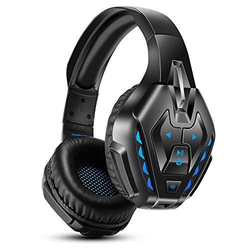 PHOINIKAS Headset PS4, Gaming Headset für Xbox One, PC, Wireless Bluetooth Headset mit 7.1 Bass Surround, Noise Cancelling-Mik Wired Kopfhörer für Spiele, LED Light, 40H-Spielzeit-Blau