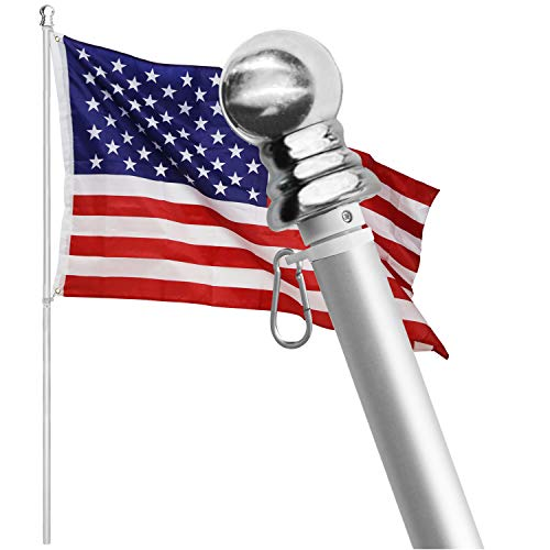 HOOPLE Tangle Free Spinning Flag Pole Aluminum 6FT Two Piece Design Durable, Rust Free and Wind Resistant Professional American Flagpole for House, Garden and Commercial (Silver/Grey)