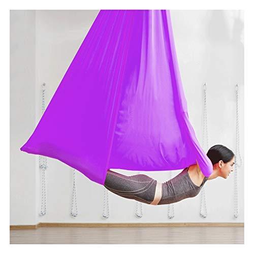 Columpio sensorial Aéreo de yoga Swing Aerial Silks Yoga Hamaca Antigravedad Yoga Swing Conjunto con correas de extensión Cadenas de margaritas y carabiners para principiantes y niños Flexibilidad y f
