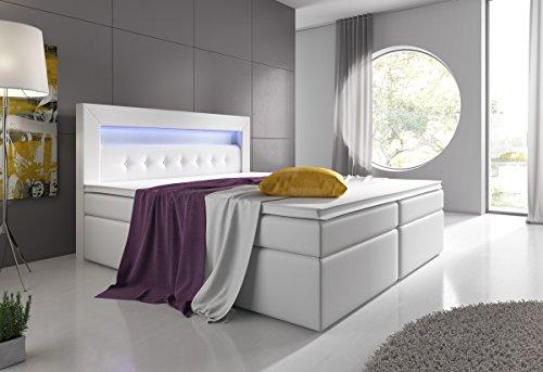 Boxspringbett 180×200 Schwarz mit Bettkasten LED Kopflicht Hotelbett Venedig Lift - 4