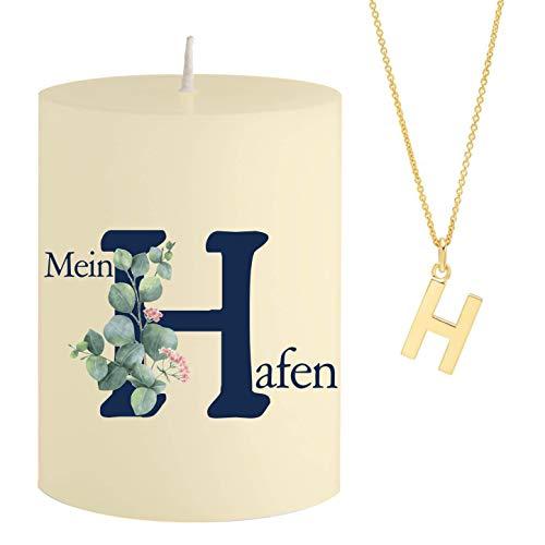 Vela con Mensaje Mein H afen, Collar de Oro Escondido con Letra H, Vela perfumada, Aroma de sándalo y Naranja, Color Amarillo