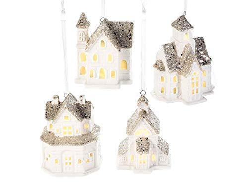 Juego de 8 casitas navideñas para colgar de cerámica con luces para...