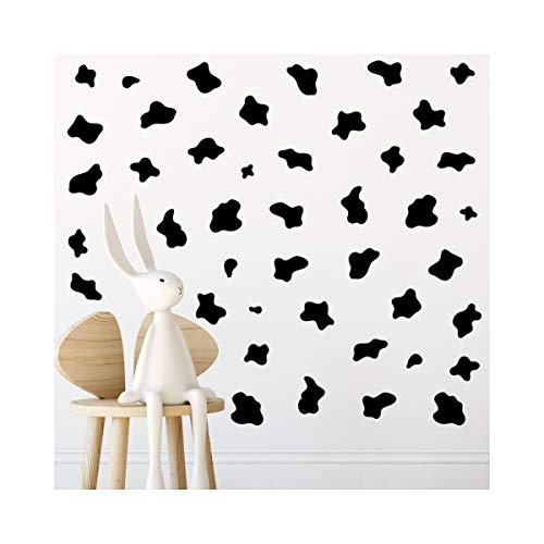StickerDeen Adhesivo decorativo para pared, diseño de vaca con estampado de animales, para cuarto de estar o cuarto de bebé, extraíble, adhesivo de vinilo para pared, color negro