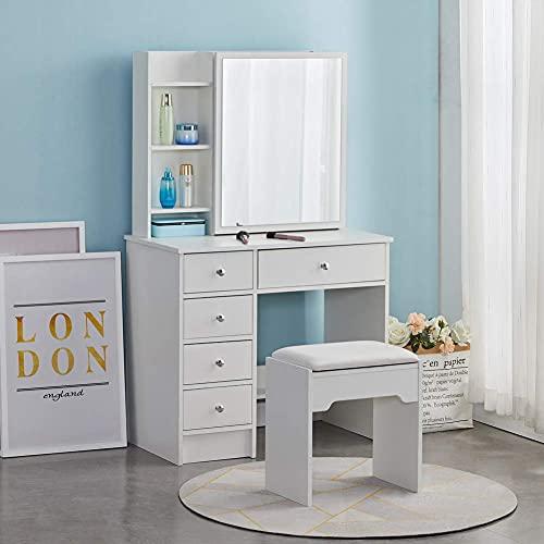 CLIPOP Tocador moderno de color blanco, escritorio de maquillaje con 1 espejo deslizante, 5 cajones y taburete, mueble de tocador para dormitorio