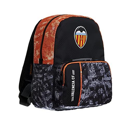Valencia CF Mochila Escolar Infantil Dos Compartimentos Doble Cremallera – Medidas 28x22x14 cm Color Negro
