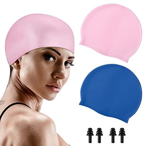 2 Cuffie da Nuoto in Silicone Cuffia da Piscina Impermeabile Cappelli da Nuoto Antiscivolo in Silicone Solido con 2 Tappi per Orecchie per Nuoto e Atleti di Balneazione dei Capelli
