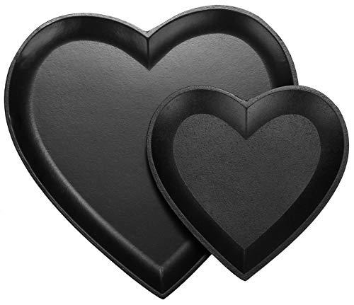 com-four® 2-teiliges Set Dekoschalen Herz, mattschwarze Holzschale in Herzform, Vintage Deko, Taschenleerer als Ablageschale für Schlüssel (schwarz - klein+groß)