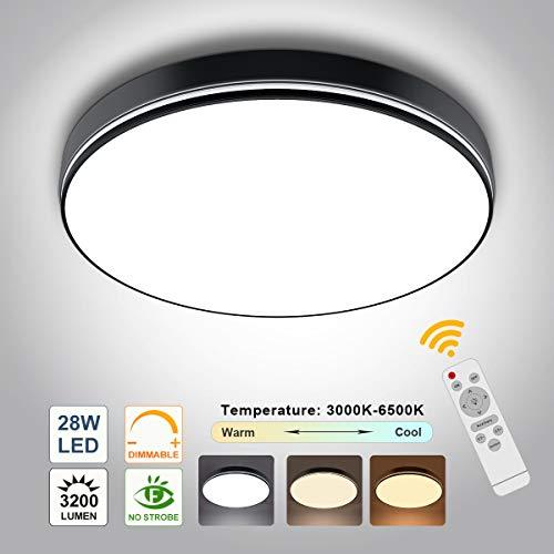 28W LED Deckenleuchte Dimmbar mit Fernbedienung, bapro Moderne Deckenlampe Helligkeit und Farbtemperatur Einstellbar Schlafzimmerlampe für Bad Schlafzimmer Küche Wohnzimmer Balkon Flur Büro