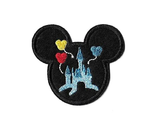 Embroidered Iron On Applique Patch - Mickey Mouse - Disneyland - World - Castle - Perfect for Hats, Shirts, Shoes, Jeans, Bags, Sewing Decorating DIY Craft