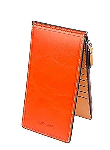 Ducomi® Portafoglio 18 - Portafoglio Unisex con Zip e 18 Scomparti per Carte di Credito, Monete e Contanti - Idea Regalo Originale per Natale per Lui e per Lei (Arancione)