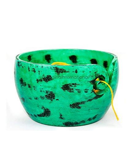 Bols de rangement de balle de fil de première qualité Distributeur de fil fonctionnel peint à la main, joli décor (Grand (7 x 4 x 7 pouces), vert caméléon)