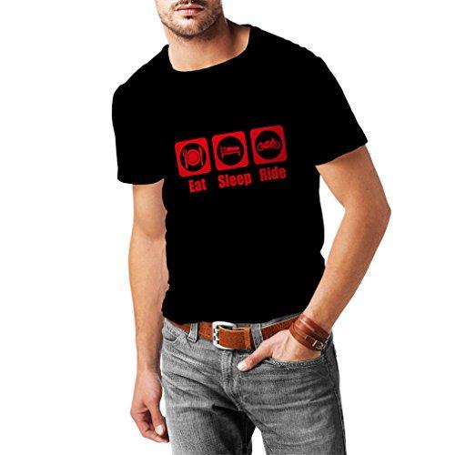 Camisetas Hombre Eat - Sleep - Ride, Regalo para Motociclistas Ropa de Moto (XXXX-Large Negro Rojo)