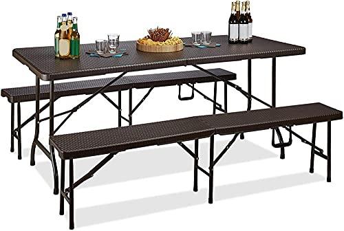 Bierzelt, das 3-Piece Gartenmöbel-Set Monochrome h x B x D: 73 x 180 x 75 cm braun-Braun