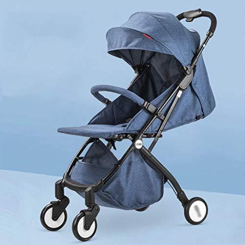 Yankuoo Baby-wandelaccessoire, lichte wandeltocht, stad Born, reissysteem met manden, vierwiel-schokdemping, verstelbare vloermatten en regenhoes, 0-36 maanden blauw