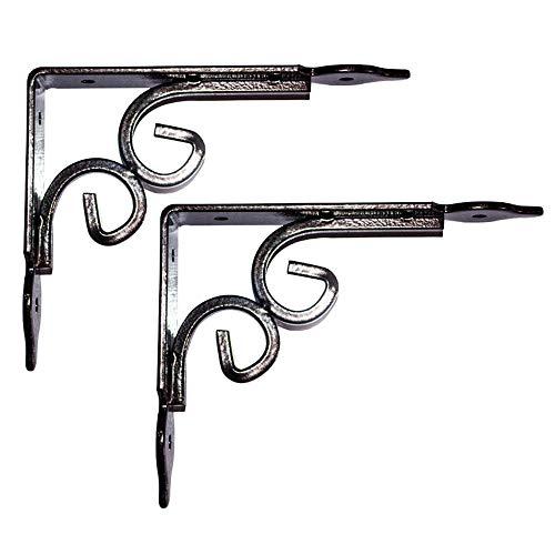 Shelf bracket 2 × Retro Dreieck-Wandhalterung Schmiedeeisen-Regalhalterung Feste tragende Stützrahmen-Möbel-Zusätze verwendbar für Mikrowellenhalterung Blumenregal