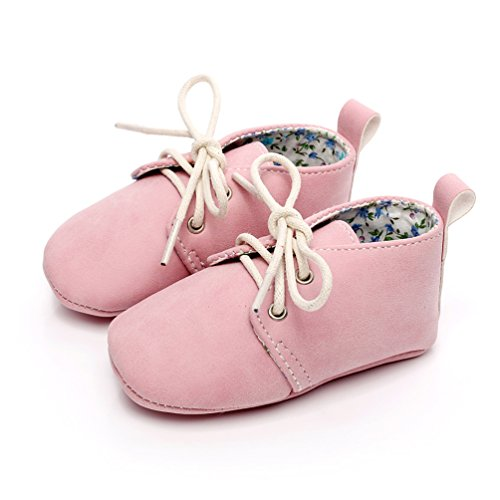 HONGTEYA Baby Girl Boy Lace-up Soft Sole Moccasins Anti-Slip Newborn Toddler Sneakers Crib Newborn Shoes (0-3 Months/US 3/4.13''/See Size Chart, Pink)