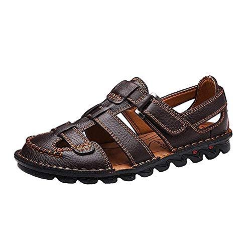 Tianre Sandalias de Cuero con Velcro de Punta Cerrada for Hombres Deportes al Aire Libre Pescador Zapatos de Verano Montañismo Caminar Playa Transpirable Sandalias Ligeras