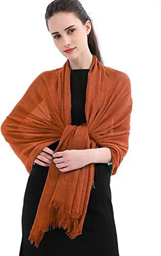 Longwu chales de abrigo de bufanda sólida de lino de