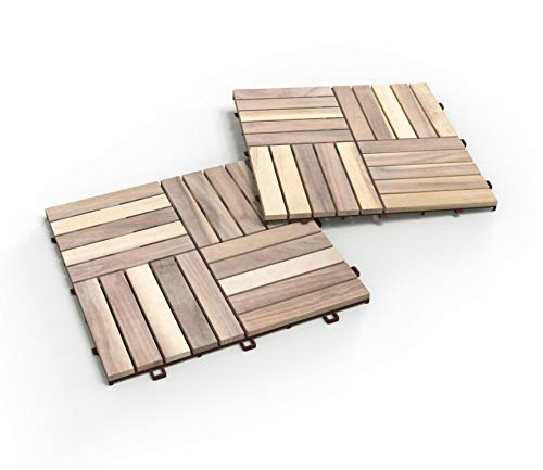 INTERBUILD Akazien Hart holzfliesen 30 × 30 cm | Bio-Weiß | Patio & Balkon | 10 FLIESEN = 0,9 ㎡ pro PACKUNG holzfliesen | balkon bodenbelag | terassenboden außen | klickfliesen holz