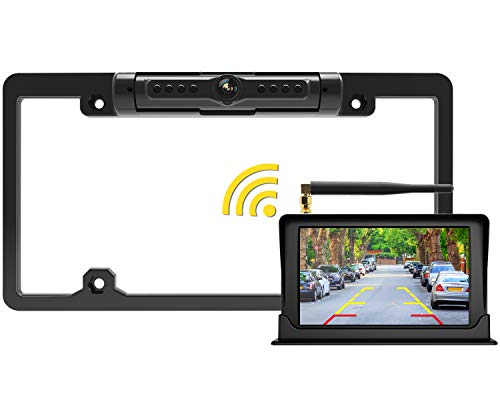 FOOKOO Wireless Backup Camera and Monitor Kit 5' HD Screen License Plate Camera with Frame IP69K Waterproof Rear View Camera with Parking Lines Universal for All Cars as SUV, Pickup, Truck, Minivan