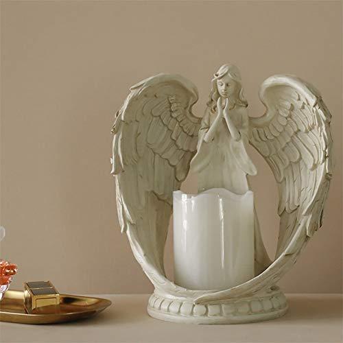 YB&GQ Flamless Portavelas Orando Ángel Figurine Estatua Alas Candelabro para Iglesia Regalo Conmemorativo,Pilas Led Tea Light Blancoa 21x21cm(8x8inch)