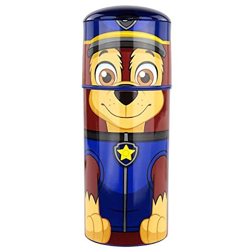 POS p:os 33663 - Botella de plástico con diseño de la Patrulla Canina, sin BPA ni ftalatos, Capacidad Aprox. 350 ml, Ideal para Viajes, guarderías y Deportes, para niños y niñas, Color Azul