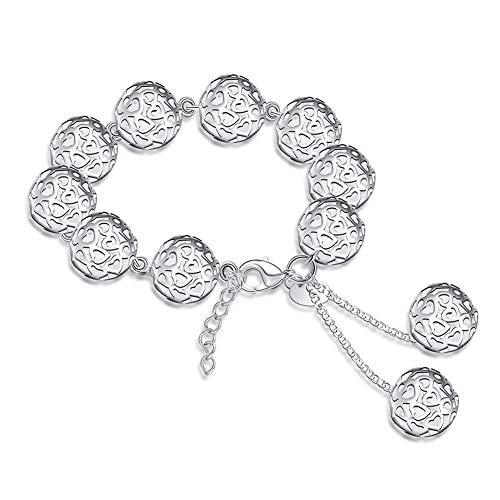 nobrand Silber Charm Armband & Armreif Frauen Männer Schmuckkette Silber Stereo Ball Armband Silberkette Armband Cicret