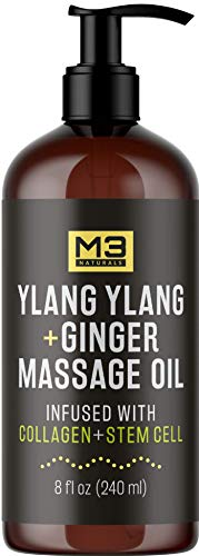 M3 Naturals Ylang Ylang and Ginger Massage Oil Infused with Collagen, Stem Cell and Natural Essential Oils, Best Deep Tissue Massaging Therapy, Relaxing Sore Muscle, Joint Relief, Anti-Cellulite 8 oz