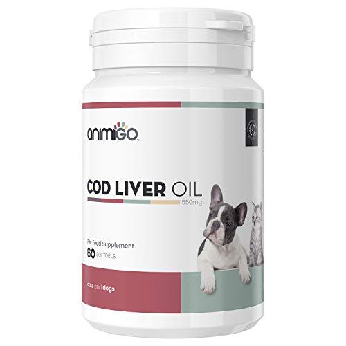 Animigo Aceite Hígado de Bacalao para Perros y Gatos | Suplemento Natural de Aceite de Pescado | Vitamina A y D, Omega 3, DHA DPA y EPA | Huesos, Articulaciones, Corazón, Pelo y Piel | 60 Cápsulas