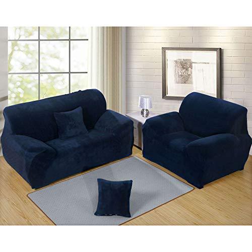 QSCV Universal Fundas para Sofa,Elasticidad Protector De Muebles Mascotas Funda Sofa Ajustables para Salon 1 2 3 4 Plazas,Felpa Thicke Elástica Funda Sofá-Cian Tibetano 4-Seater 235-300cm