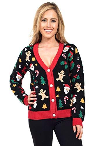 Suéter feo de Navidad para mujer con cortador de galletas, bonito cárdigan de Navidad femenino, Negro, M