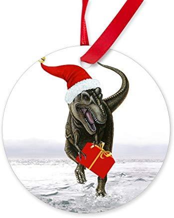 Santasaurus' T-Rex dinosaurio ~ ornamento (redondo) novedad