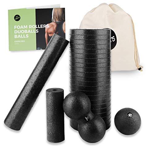 Faszien Sets - je nach Set Faszienrolle klein und groß, Duoball 8 und Ball 8 cm - Faszienset zur effektiven Faszien & Triggerpunkt Massage inkl. Startguide (5 TLG Set)