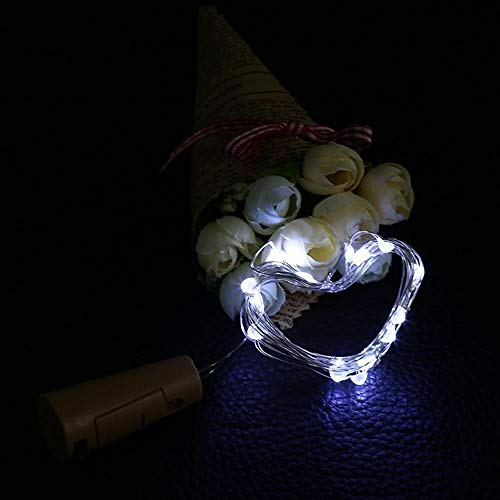 JHJUH 10pcs/lot Battery Operated Cork Light for Wine Bottles Cork Shape String Light 20 LED Warm White Fairy Lights for Birthday Gifts-White_2m20leds