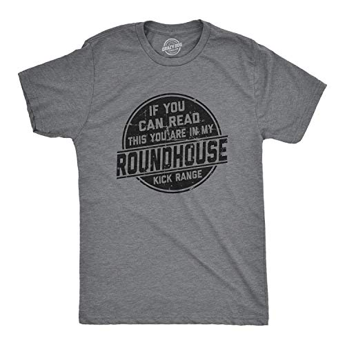 Mens If You Can Read This You are in My Roundhouse Kick Range Tshirt (Dark Heather Grey) - M