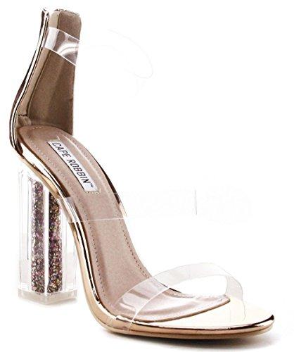 Cape Robbin Maria-7 Lucite Clear Perspex Glitter Block Heel Open Peep Toe Sandal Shoe Rose Gold 9