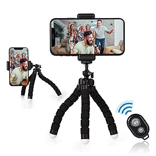 FORMIZON Trípode para Teléfono Móvil/Cámara, Mini Tripode Portátil, Trípode Flexible de Rotación 360º con Control Remoto a Distancia Bluetooth e Soporte para Teléfono para Smartphone/Cámara DSLR