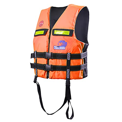 MYAOU Chaleco Salvavidas Snorkeling Natación Flotador Chaleco Salvavidas de Seguridad para Kayak Vela Canotaje Deportes acuáticos, Dispositivo de flotación Personal Unisex,Naranja,S