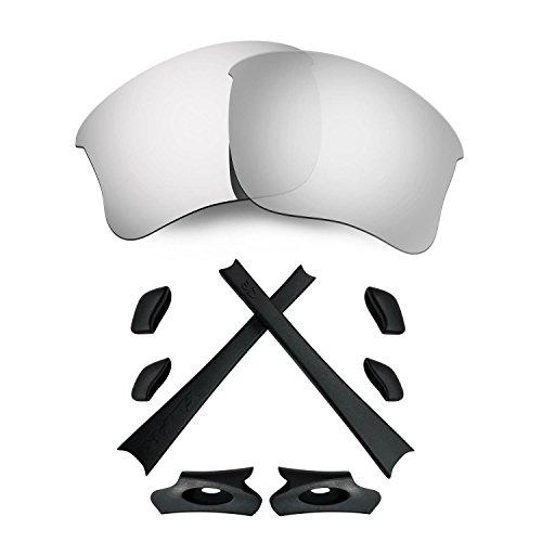 HKUCO for Oakley Flak Jacket XLJ Silver Polarized Replacement Lenses and Black Earsocks Rubber Kit