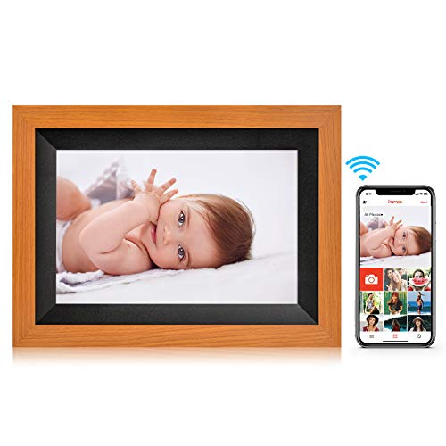 Amaboo 10.1'' WiFi Digital Picture-Frames Smart Cloud Photo-Frame with Video/Pictures Share by APP, Wood Grain Yellow/Black Frame Digital Frames Picture