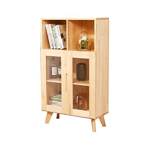 LVZAIXI wandrek voor kinderen gemaakt van massief hout met glazen deur, houtkleur 70 x 106 x 32 cm (kleur: A)