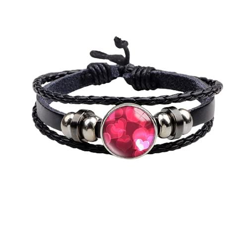 Corazón de 20 mm de vidrio de cuero genuino pulsera de 18 mm botón de presión redondo cabujón encanto joyería para mujeres hombres regalo