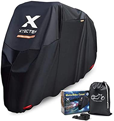XYZCTEM Motorcycle Cover -Waterproof Outdoor Storage Bag,Made of Heavy Duty Material Fits up to 97 inch, Compatible with Harley Davison and All Motors(Black& Lockholes& Professional Windproof Strap) by XYZCTEM