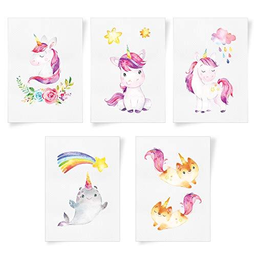 Juego de 5 carteles para cuarto de bebé - unicornio - fotos A4 para cuarto de niños - decoración rosácea de la habitación para chica - bonitos colores - unicornio, caballitos