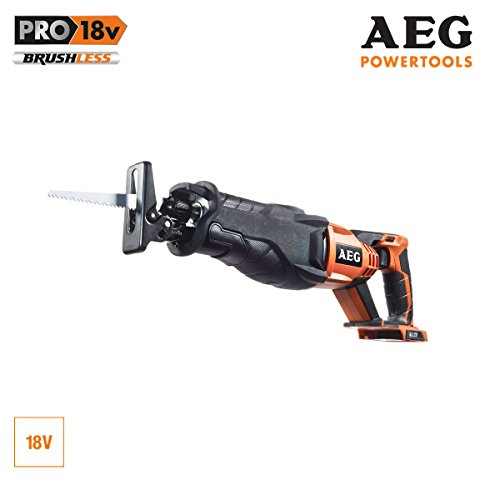 AEG BUS18BL-0 Cordless Reciprocating 18 V Lifting Length 28 mm Saw with Fixtex Quick Release System LED Lighting Without Battery